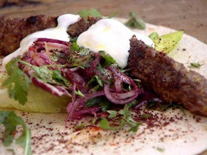 Kofta kebabs are versatile, eat them with rice or in flatbreads. Photo credit:  Jamie Oliver, foodnetwork.com