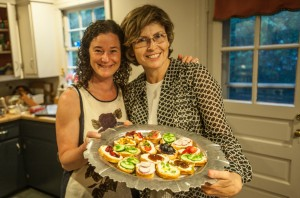 Lovely guests helped prepare the crostini.  Showing off their handiwork!