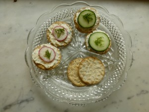 Light and airy horseradish spread on water crackers.  Perfect with rose.
