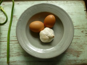 Garlic and brown eggs still life,