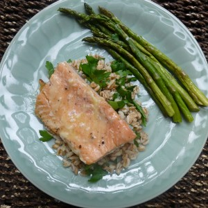 Grilled Salmon with Lime-Butter Sauce