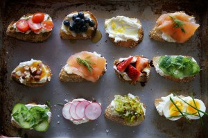 Ricotta crostini party from Honestly YUM inspired the appetizers.