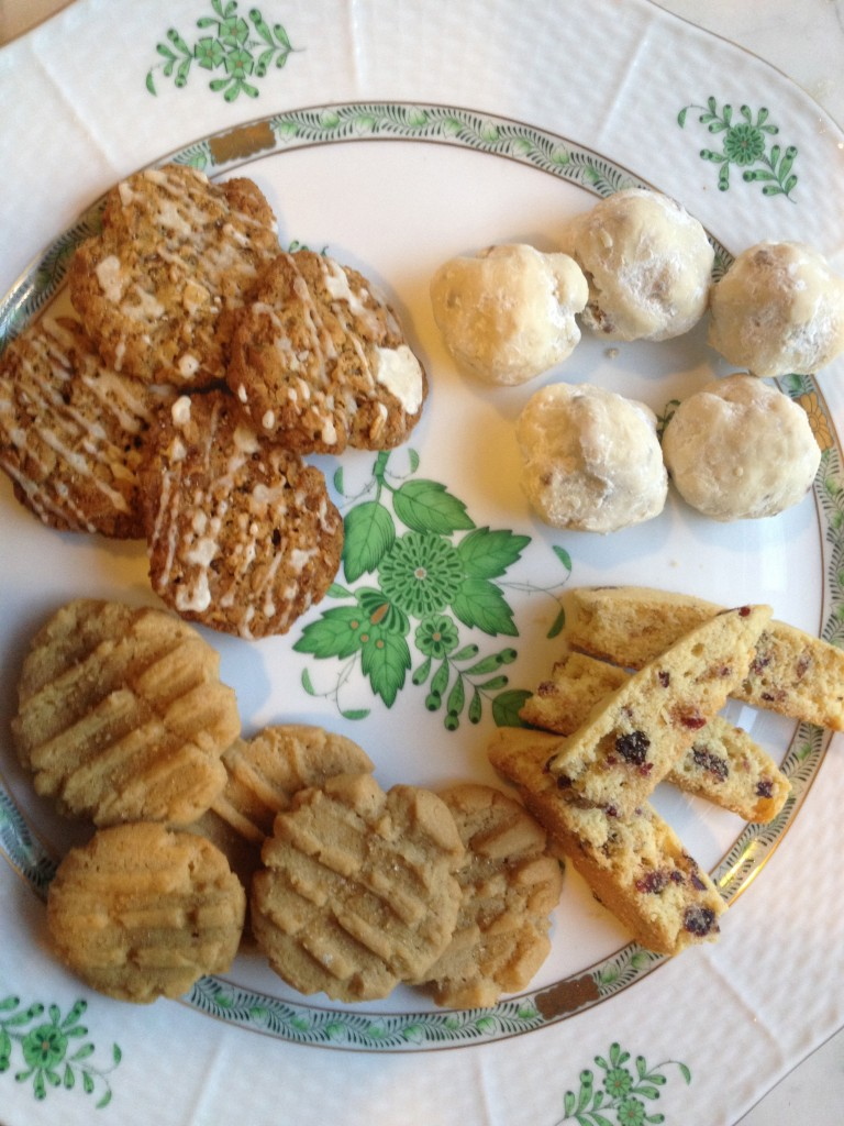 Lovely cookies on my favorite Herend platter.  Fancy!