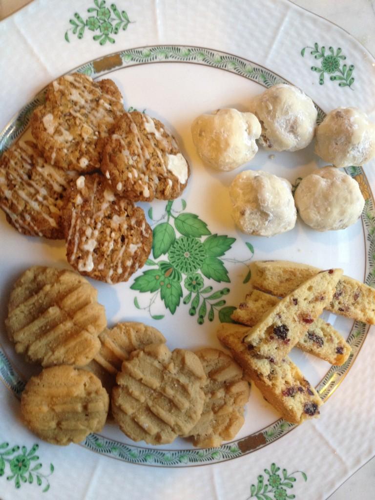 Lovely cookies on my favorite Herend platter.  Fancy!