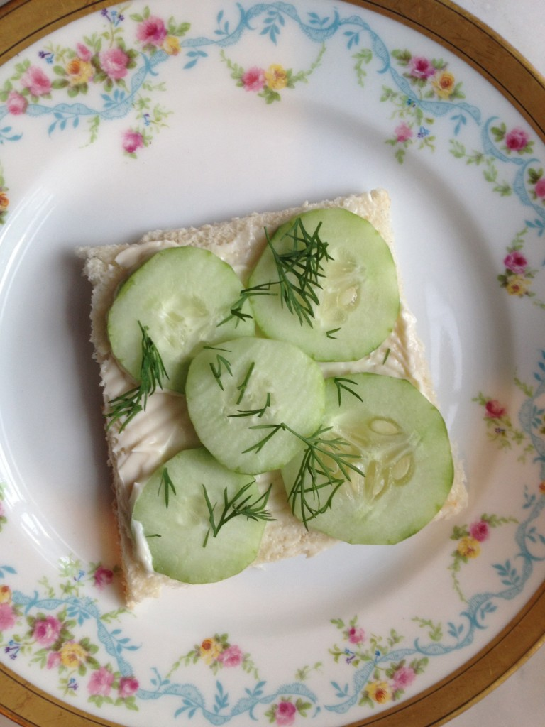 You wouldn't actually serve a cucumber sandwich open face but I thought it looked so pretty.