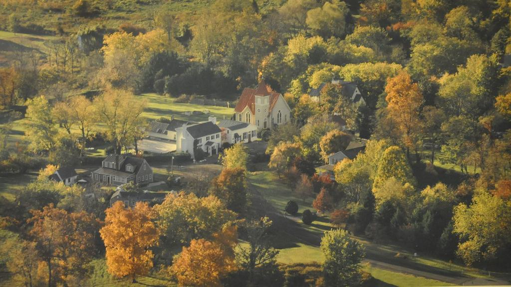 A view of the Inn and the church from the air.