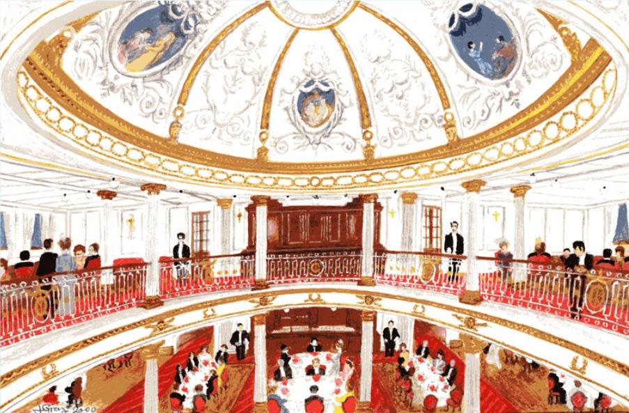 Interior of grand salon in the Cunard steamship line.
