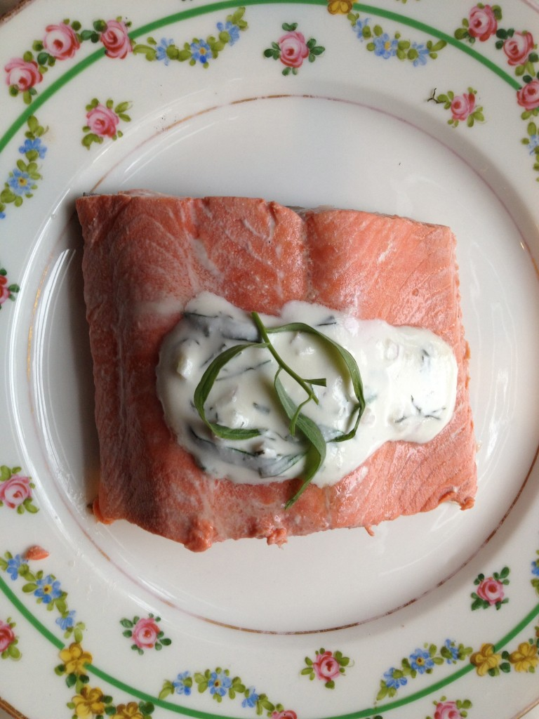 Poached Salmon with Shallot, Tarragon, Dill Sauce