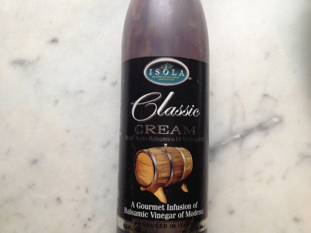 You can buy this in grocery stores or you can make your own by reducing balsamic vinegar.  Be sure to use the highest quality balsamic vinegar from Italy that you can afford.  It makes a difference!