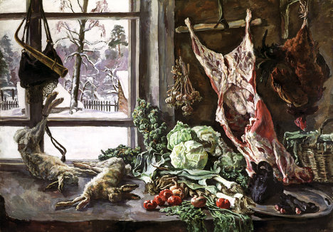 """Meat, Fowl and Brussels Sprouts Against the Window"" by Pyotr Konchalovsky (1937)"
