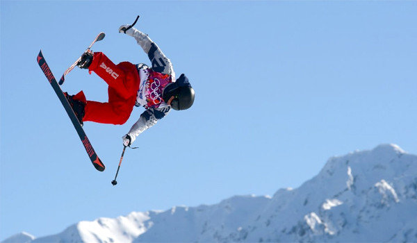 U.S. skier Joss Christensen gets in a practice run for Ski Slopestyle ahead of the Sochi 2014 Winter Olympics at the Extreme Park at Rosa Khutor Mountain. (Lars Baron / Getty Images / February 4, 2014)