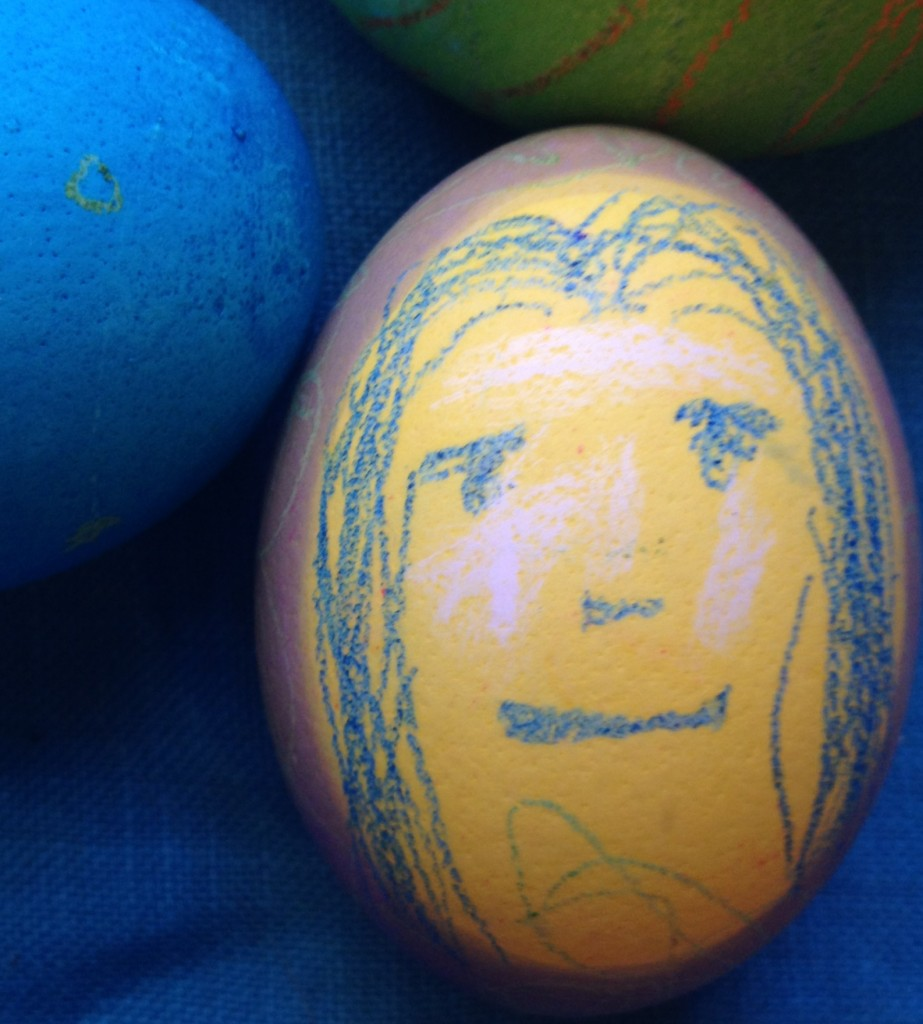 John's rendition of the Mona Lisa on his Easter egg.
